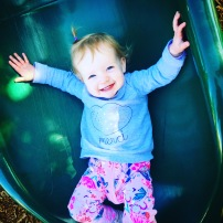 Park fun: Cece's first slide!